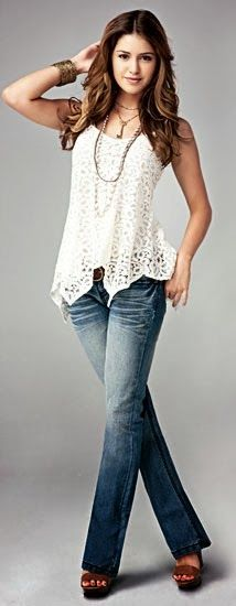 White lace shirt with denim jeans | Fashion and styles
