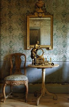 Gustavian Swedish colors are very muted with lots of grays and creams.; but not always. The Gustavian Swedes of the 18th century loved color too!