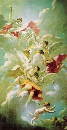 The Library At Biltmore - The beautiful ceiling painting - The Chariots of Aurora by Giovanni Antonio Pellegrini (1675-1741) - had been restored in Paris and was being mounted.