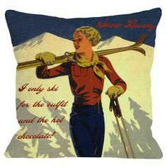 """Placed on your sofa or arranged on your bed, this ski-themed pillow brings a touch of mountain-lodge charm to your home.     Product: PillowConstruction Material: PolyesterColor: MultiFeatures:  Insert includedDigitally printedDimensions: 18"""" x 18"""""""