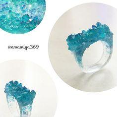 #ハンドメイド #指輪 #フェイク #クラスター #水晶 #鉱石 #レジン #アクセサリー #HMJ #handmade #ring #crystal #cluster