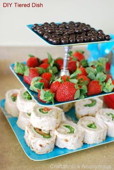 16 Simple and Sweet DIY Party Ideas- Tiered Serving Tray MARY: PINWHEELS and a use for my future diy tiered plates!