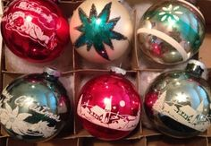 6-LOT-ShinyBrite-Large-Stenciled-Glass-Christmas-Tree-Ornaments-Red-Green-MICA
