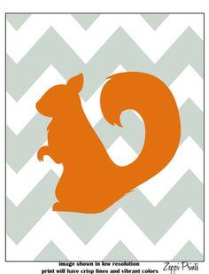 Orange Boy Nursery Chevron Squirrel Silhouette Custom wall decor more colors available 11x14