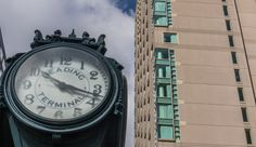 The Reading Terminal clock which is outside the Reading (Railroad) Terminal building, a landmark in Philadelphia