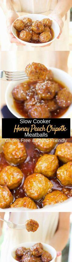 slow cooker honey peach chipotle meatballs gluten free paleo
