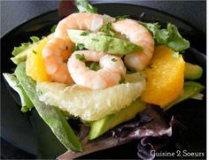 Cuisine 2 Soeurs: Salade de crevettes, avocat, mesclun et agrumes