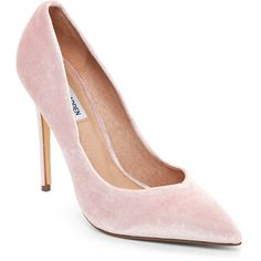 Steve Madden Pink Wicket Velvet Pointed Toe Pumps (340 HRK) ❤ liked on Polyvore featuring shoes, pumps, pink, pink shoes, pink pumps, high heeled footwear, slip-on shoes and pointed toe high heel pumps