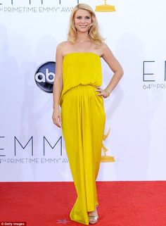 pregnant Claire Danes did not look pregnant in this lovely yellow Jeanne Lanvin creation (http://www.dailymail.co.uk)