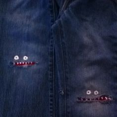 Monster mouths on jeans for boys who like to fall on their knees! Left side is 9 year old, right is 5 year old.