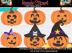 Jack O'Lanterns Pumpkins Clipart Digital Zip Download by MaddieZee