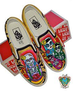 0c90e88192761b Day of the Dead Nesting Dolls Custom Vans Custom Vans