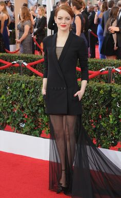 In Christian Dior at the SAG Awards. See all of Emma Stone's best looks.