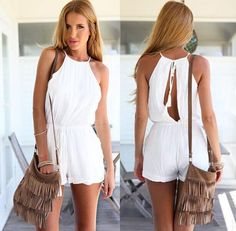 Simple Open Back in White Jumpsuit