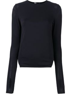 Shoppen Y-3 Jersey-Sweatshirt in Netzoptik von Stefania Mode aus den weltbesten Boutiquen bei…