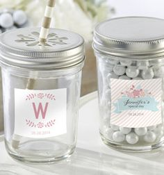 Personalized Glass Mason Jar –  Rustic Bridal Shower Collection (Set of 12)