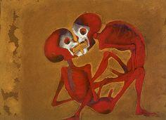 Francisco Toledo, Dos muertes rojas, gouache.1994
