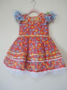 Vestido festa junina infantil +tiara 004