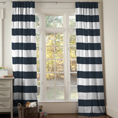 Navy and White Nautical Nursery Decor Curtains