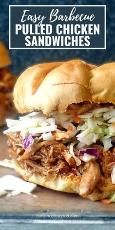 This BBQ Pulled Chicken Sandwich will satisfy your barbecue cravings, and it's easy to make too! Loaded with sweet, tangy barbecue flavor and lots of garlic to make the best pulled chicken sandwich I've ever had!  #LTGrecipes #bbqchicken #sandwich #pulledchicken #easyrecipe #garlicchicken #4thofjuly #bbqsandwich Buffalo Chicken Sandwiches, Chicken Sandwich Recipes, Easy Meat Recipes, Best Chicken Recipes, Turkey Recipes, Grilling Recipes, Pork Recipes, Easy Dinner Recipes, Savoury Recipes