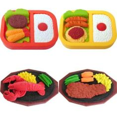 4 Large Bento Box Lunch Dinner Steak Lobster Erasers Japanese IWAKO by IWAKO. $8.73. DINNER ERASERS