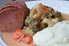 Viktväktarrecept Lchf, Baked Potato, Broccoli, Foodies, Sausage, Food And Drink, Potatoes, Meat, Baking
