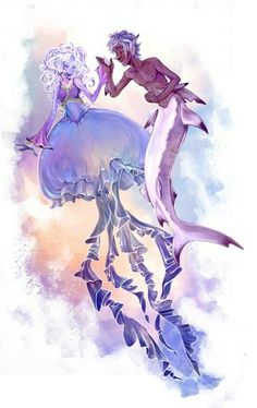 Jellyfish mermaid and sharkboy Jellyfish Painting, Jellyfish Drawing, Jellyfish Aquarium, Jellyfish Sting, Watercolor Jellyfish, Jellyfish Tattoo, Jellyfish Light, Mermaid Drawings, Mermaid Art