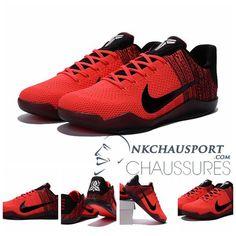 new arrival 95f5b ee861 Nike Kobe Bryant 11   Nouvelle Chaussure De Basket Homme Braided Rouge-3  Des Baskets