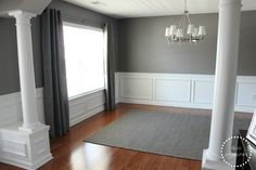 Love the grey walls with the grey curtains. Duo Ventures: Turning a Dining Room into an Office: Part paint the loft Behr Creek Bend @ Home Depot. My Living Room, Living Room Decor, Living Spaces, Style At Home, Gray Rooms, Gray Walls, Duplex, Interior Columns, Interior Design