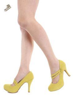 Qupid Double Mary Jane Straps High Heels Stiletto Pump Shoes Qutrench-26 Lemon Lime or Zebra (6.5, Lemon Lime) - Qupid pumps for women (*Amazon Partner-Link)