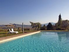 The wonderful outdoor swimming pool of Podere Casa Baccano Estate for saleis one of the largest and most beautiful of the whole area, suspended over the sweet Val d'Orcia rolling hills, offers a landscape beyond any description and, last but not least, a Jacuzzi reserved tub.