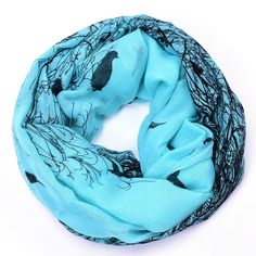 Birds print infinity scarf circle scarf tube scarves Soft Women  #JKK #Ring