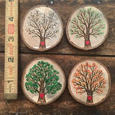 Wood burned and painted trees in all four seasons. Sold as a set. Seasons designs can be made as singles and would sell for $15 each. Please send