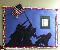 Marines Raising the Victory Flag, remembrance, patriotic memorial bulletin board, pixels Memorial Day Decorations, School Decorations, Patriotic Decorations, Church Decorations, Nursing Home Crafts, Nursing Home Activities, Veterans Day Activities, Senior Activities, Exercise Activities