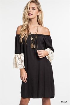 Off The Shoulder Tunic Dress in Black – Under The Eiffel Boutique