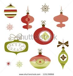 Set of Retro Christmas Ornaments - stock vector