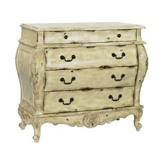 Four-drawer bombe chest with scallop and acanthus leaf details.    Product: Chest    Construction Material: Wood ...