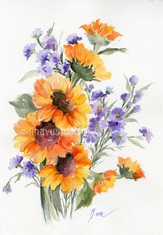 New Painting Inspiration Watercolor Awesome Art Ideas Sunflower Drawing, Watercolor Sunflower, Sunflower Art, Watercolor Flowers, Watercolor Pictures, Watercolor Cards, Watercolor Paintings, Body Painting, Painting Canvas