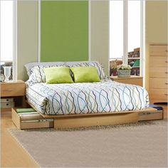 South Shore Copley Full / Queen Platform Storage Bed Frame Only in Natural Maple Finish - 3013217