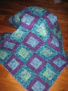 Lap Quilt, Blue, Turquoise, Purple, Green Paisley Handmade Sofa Throw