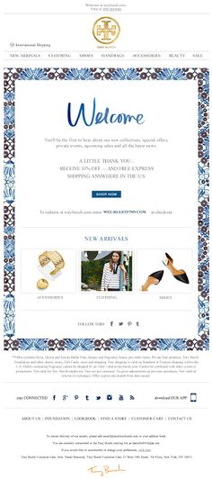 Tory Burch | welcome | WelcomeEmails | emailmarketing | email | newsletter | welcome newsletter | welcome email | WelcomeEmail | relationship emails | emailDesign