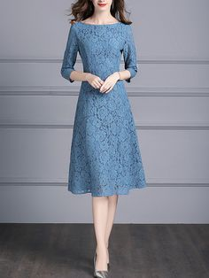 Blue Boat Neck Floral Lace Swing Midi Dress is part of Lace dress casual - Shop Blue Boat Neck Floral Lace Swing Midi Dress on Metisu com Discover stylish and vogue women's dresses for the season Regular discounts up to off Dress Brukat, Blue Midi Dress, Batik Dress, Blue Dress Outfits, Dress Lace, Swing Dress, Cute Dresses, Beautiful Dresses, Casual Dresses