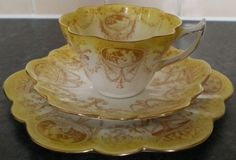 Snowdrop Shelley Wileman China Yellow Cameo Cup Trio | eBay