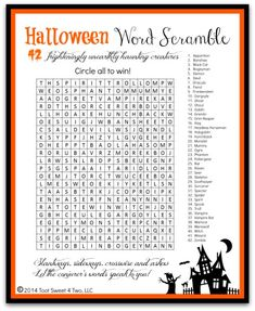 Ghosts, Goblins and Ghouls: 42 Frighteningly Unearthly Creatures That Haunt Halloween Halloween Word Scramble – a fun FREE printable to use for your next Halloween [. Halloween Tags, Halloween Puzzles, Halloween Class Party, Halloween Words, Halloween Coloring, Holidays Halloween, Halloween Crafts, Happy Halloween, Halloween Trivia