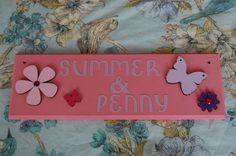 Items similar to Butterfly Girls Sign Personalised bedroom Door Name sign plaque plate for shared bedrooms. Any colours, any two Names. on Etsy Boy Nursery Cars, Baby Boy Rooms, Boys Room Colors, Small Space Nursery, Name Signs, Door Signs, Girl Sign, Nursery Paintings, Girl Baby Shower Decorations