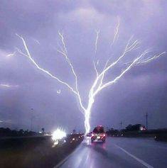 "(Dashcam capture) While storm chasing in tornado alley my Garmin dashcam captured a rare phenomenon called ""upward-moving"" lightning, also… Wild Weather, Thunder And Lightning, Lightning Storms, Lightning Flash, Lightning Bolt, Tornados, Thunderstorms, Lightning Strikes, Natural Phenomena"