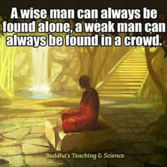 A wise man can always be found alone Buddha Quotes Inspirational, Spiritual Quotes, Buddha Thoughts, Weak Men, Live Laugh Love, Teaching Science, News Today, No Time For Me, Life Quotes