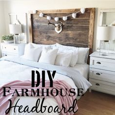 More click [.] How To Make A King Size Headboard Upholstered Headboard Check Out This Tutorial On How To Make diy King farmhouse Headboard Homeisd 62 Easy And Cheap Diy Headboard Ideas With Plans Diy King Bed, Cheap Headboard, Home Projects, Home Decor Bedroom, Headboard Styles, Farmhouse Headboard, Home Decor, Home Diy, Diy King Size Headboard