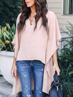 V Neck Asymmetric Hem Plain Blouse For Women Blouse For Women Casual Blouse For Women Work Winter Fashion Casual, Leopard Print Top, Elegant Chic, V Neck Tops, Casual Chic, Chic Chic, Types Of Sleeves, Blouses For Women, Fashion Outfits