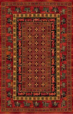 Not a handmade rug but a machine-made copy of the Pazyryk rug. The oldest discovered hand-knotted rug in the world dating back to 500 B.C.